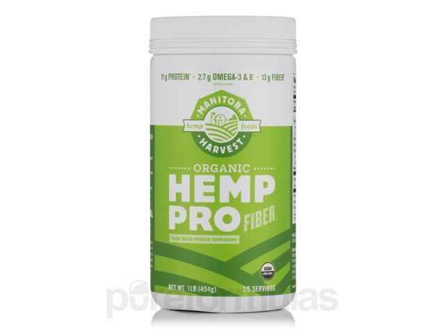 Organic Hemp Pro Fiber Protein Powder - 16 oz (454 Grams) by Manitoba Harvest