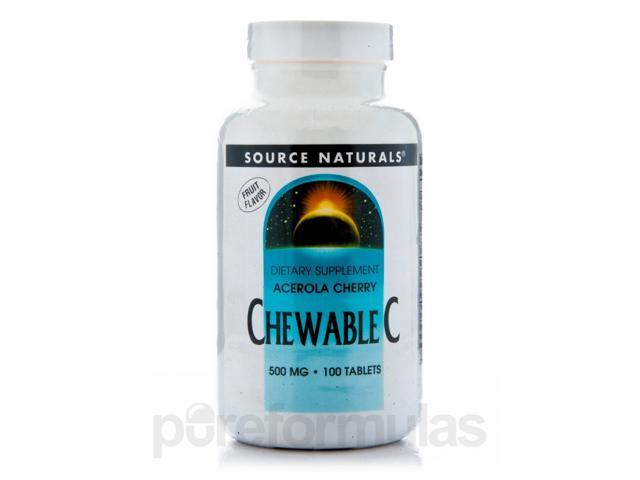 Acerola Chewable C 500 mg - 100 Tablets by Source Naturals