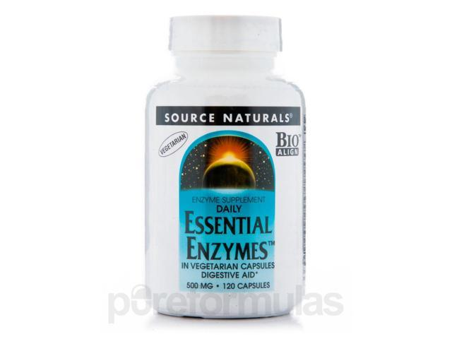 Essential Enzymes 500 mg - 120 Vegetarian Capsules by Source Naturals