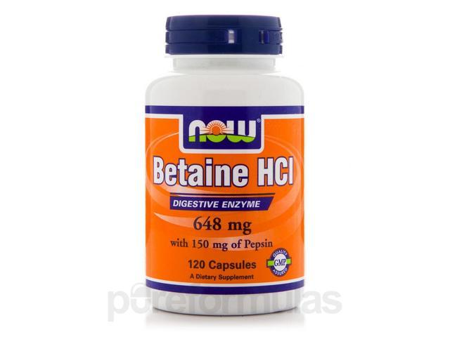 Betaine HCL 648 mg with 150 mg of Pepsin - 120 Capsules by NOW