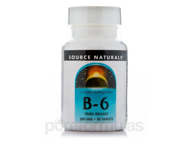 B-6 500 mg Time Release - 50 Tablets by Source Naturals