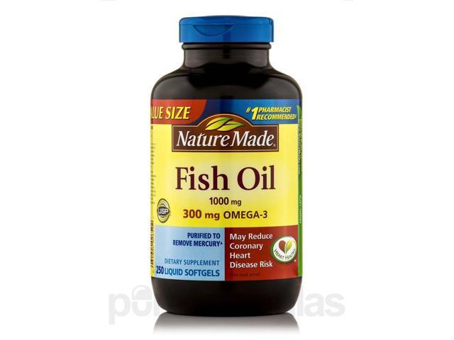 Fish oil 1000 mg omega 3 300 mg 250 softgels by nature for Nature made fish oil