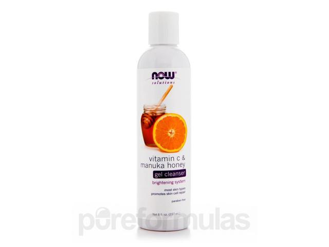 NOW Solutions - Vitamin C & Manuka Honey Gel Cleanser - 8 fl. oz (237 ml) by NO