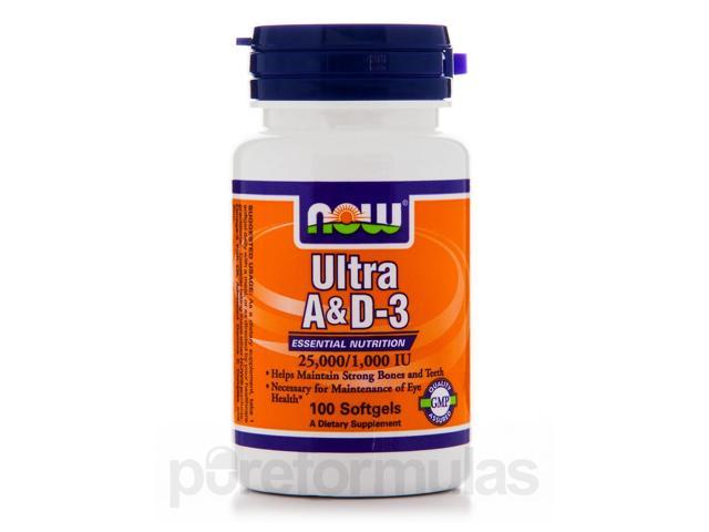 Ultra A & D-3 (25,000/1,000 IU) - 100 Softgels by NOW