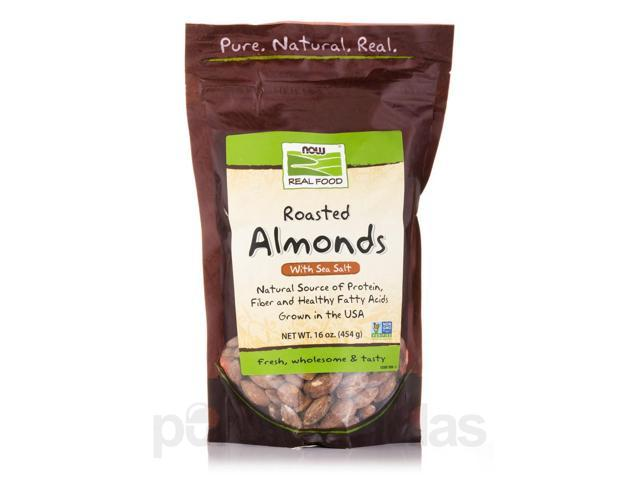 NOW? Real Food - Roasted Almonds with Sea Salt - 16 oz (454 Grams) by NOW