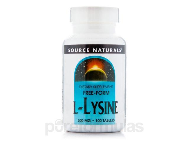 L-Lysine 500 mg - 100 Tablets by Source Naturals
