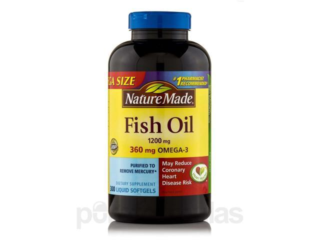 Fish oil 1200 mg omega 3 360 mg 300 softgels by nature for Natural made fish oil