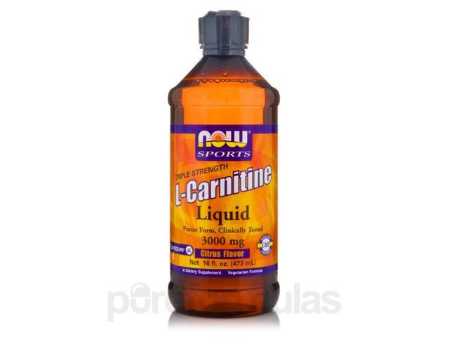 NOW Sports - Liquid L-Carnitine (Citrus Flavor) 3000 mg - 16 fl. oz (473 ml) by