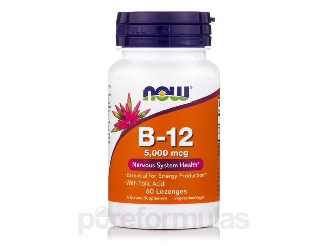 B-12 5000 mcg - 60 Lozenges by NOW
