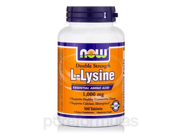 L-Lysine 1000 mg (Double Strength) - 100 Tablets by NOW