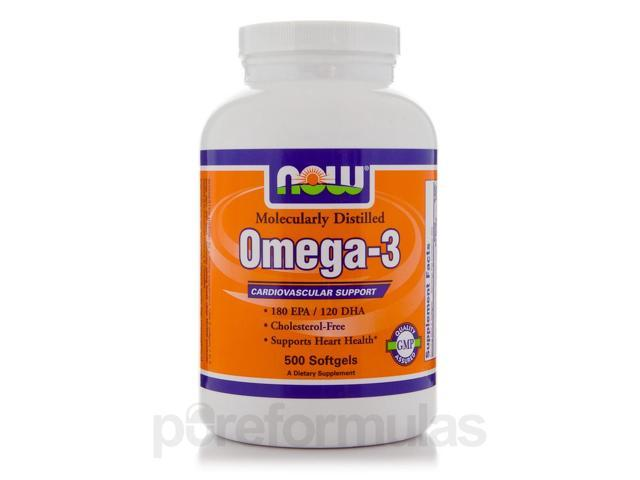 Omega-3 (Molecularly Distilled) - 500 Softgels by NOW
