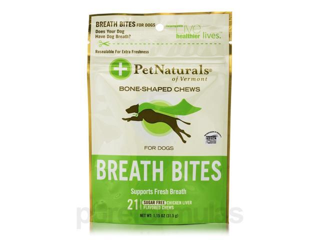 Breath Bites for Dogs - 21 Chicken Liver Flavored Chews by Pet Naturals of Vermo