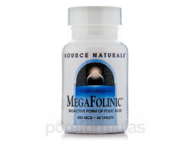 Mega Folinic 800 mcg - 60 Tablets by Source Naturals