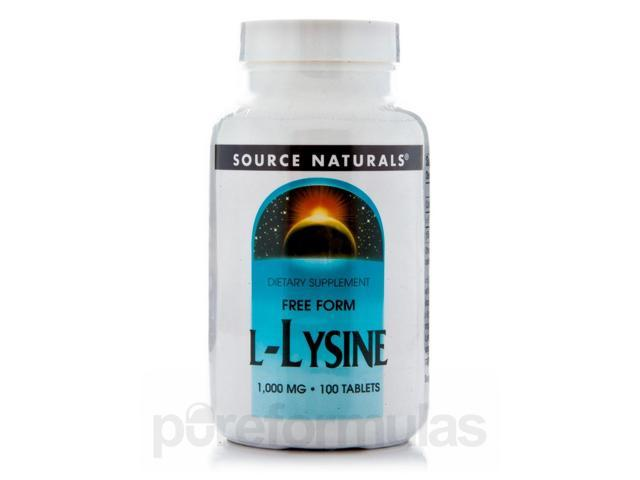 L-Lysine 1000 mg - 100 Tablets by Source Naturals