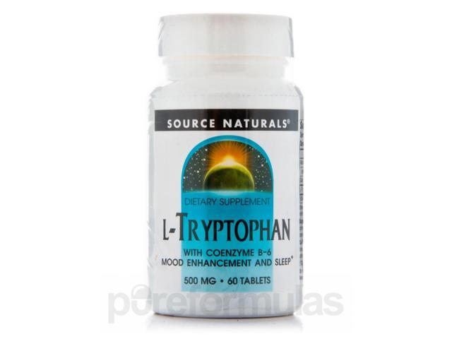 L-Tryptophan 500 mg with Coenzyme B-6 - 60 Tablets by Source Naturals