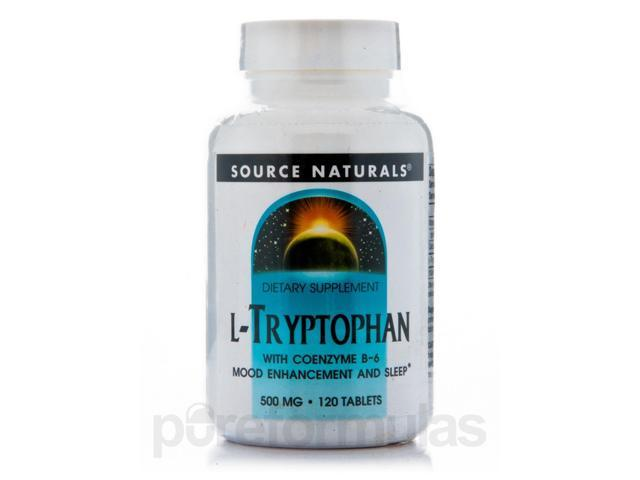 L-Tryptophan 500 mg with Coenzyme B-6 - 120 Tablets by Source Naturals