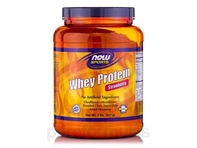 NOW? Sports - Whey Protein Strawberry - 2 lbs (908 Grams) by NOW