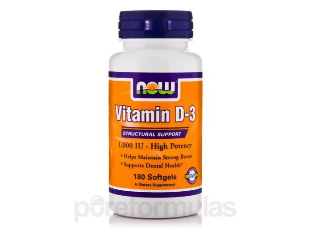 Vitamin D-3 1000 IU (High Potency) - 180 Softgels by NOW