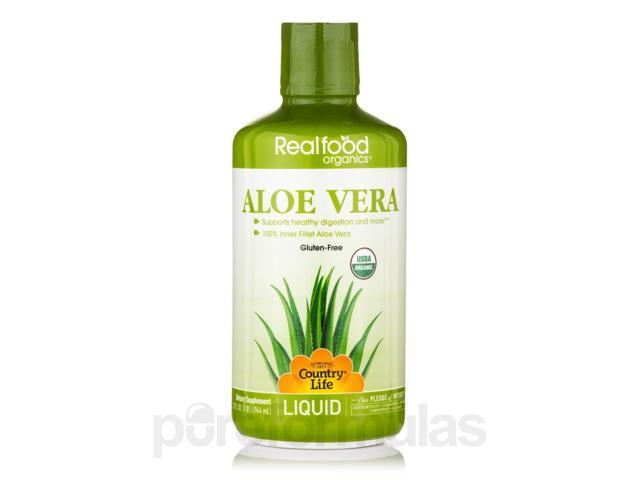 Realfood Organics? - Liquid Aloe Vera - 32 fl. oz (1 Qt / 944 ml) by Country Lif