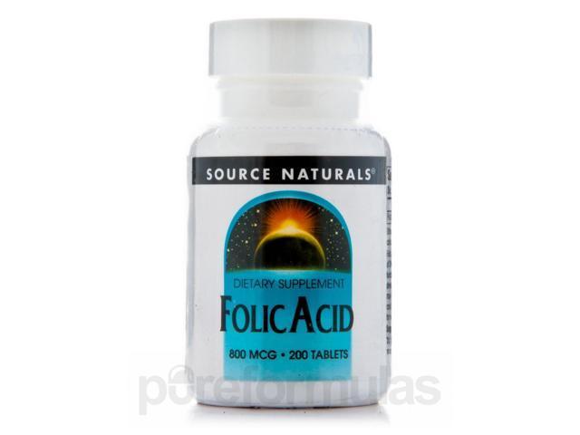 Folic Acid 800 mcg - 200 Tablets by Source Naturals