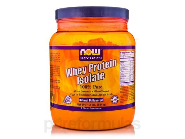 NOW Sports - Whey Protein Isolate (100% Pure - Unflavored) - 1.2 lbs (544 Grams