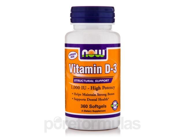 Vitamin D-3 1000 IU - 360 Softgels by NOW