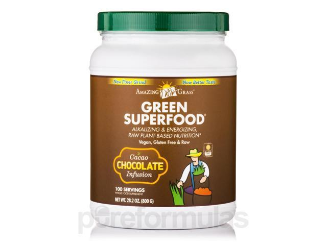 Green SuperFood Chocolate Powder - 100 Servings (28.2 oz / 800 Grams) by AmaZin
