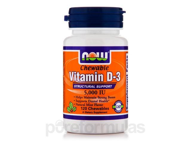 Vitamin D-3 5000 IU (Chewable) - 120 Chewables by NOW