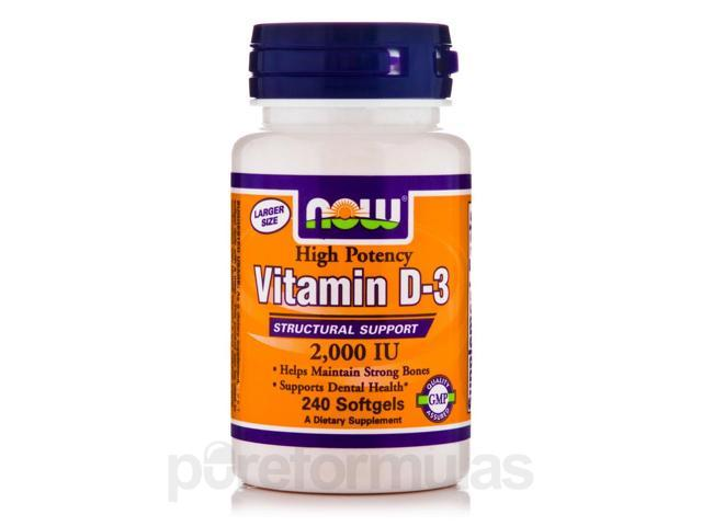 Vitamin D-3 2000 IU - 240 Softgels by NOW