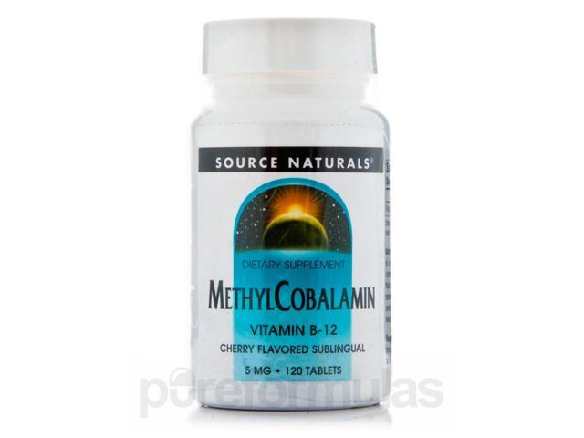 Methylcobalamin 5 mg Cherry Flavored Sublingual - 120 Tablets by Source Naturals