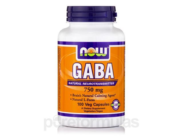GABA 750 mg - 100 Vegetarian Capsules by NOW