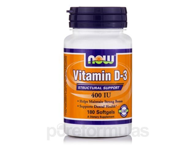 Vitamin D-3 400 IU - 180 Softgels by NOW