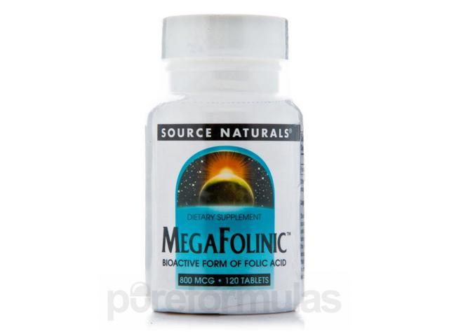Mega Folinic 800 mcg - 120 Tablets by Source Naturals