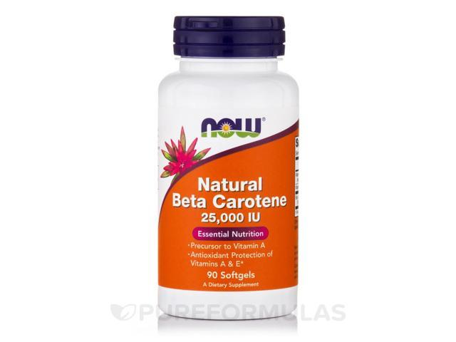 Natural Beta Carotene 25000 IU - 90 Softgels by NOW