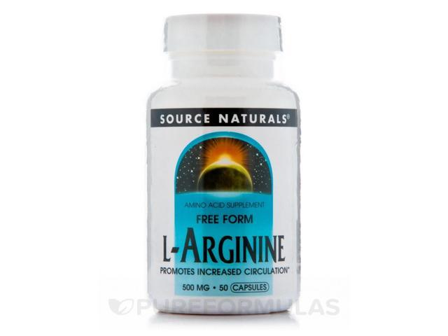 L-Arginine Caps 500 mg - 50 Capsules by Source Naturals