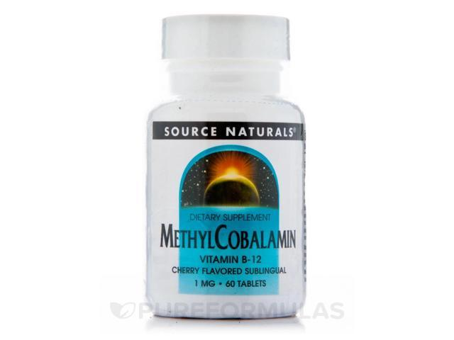 Methylcobalamin 1 mg Cherry Flavored Sublingual - 60 Tablets by Source Naturals