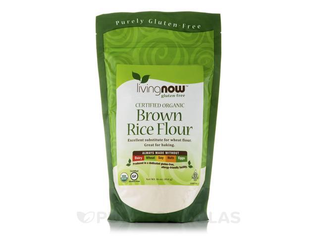 LivingNow Brown Rice Flour (Certified Organic) - 16 oz (454 Grams) by NOW