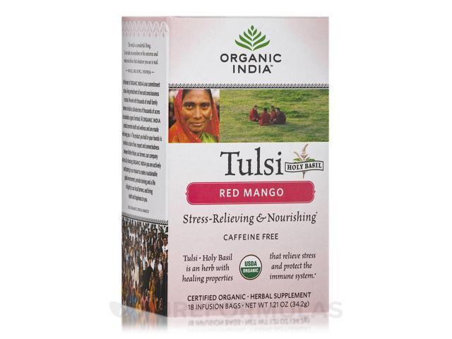 Tulsi Red Mango Tea - 18 Bags (1.21 oz / 34.2 Grams) by Organic India