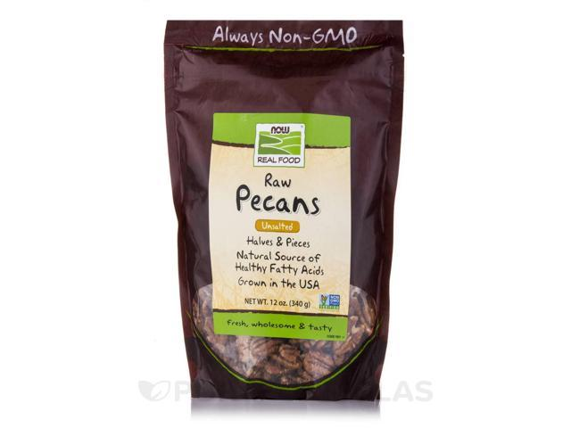NOW? Real Food - Raw Pecans (Unsalted) - 12 oz (340 Grams) by NOW