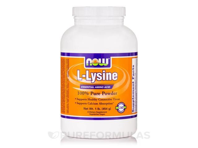 L-Lysine 100% Pure Powder - 1 lb (454 Grams) by NOW