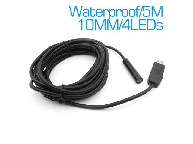 5M Cable 10mm Lens IP67 Waterproof USB Endoscope Camera 4 LEDs Mini ...