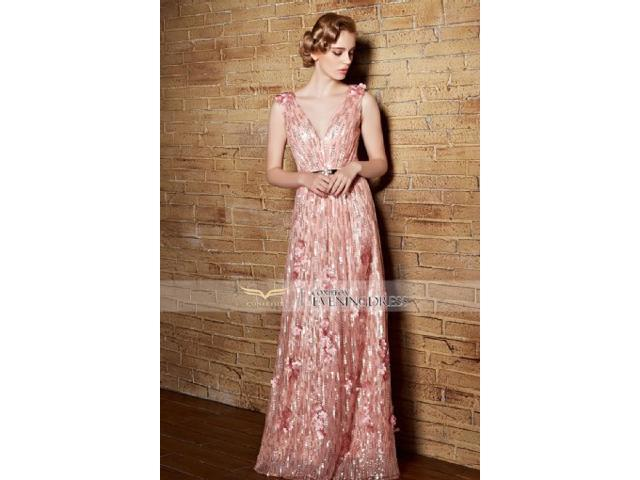 Seductive Deep V-neck A-line Long Backless Evening Dress with Sequins and Flowers Details, fashion design ,good quality.
