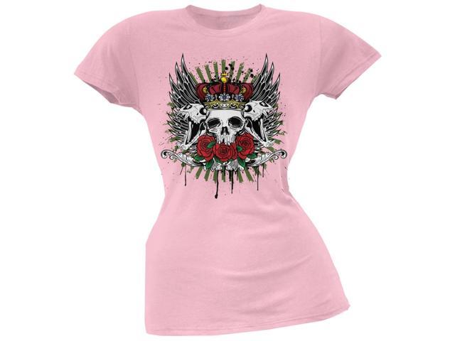 Skull & Roses Light Pink Soft Juniors T-Shirt