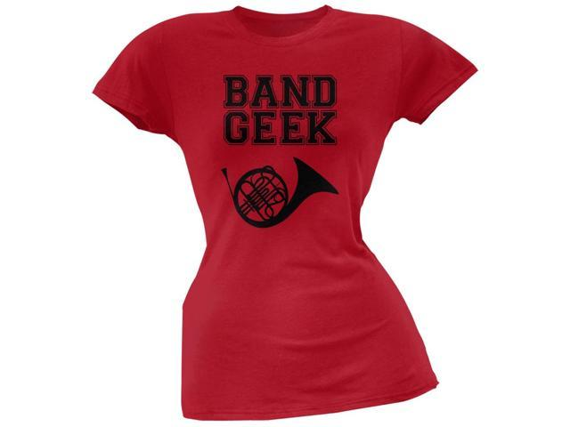 Band Geek French Horn Red Soft Juniors T-Shirt