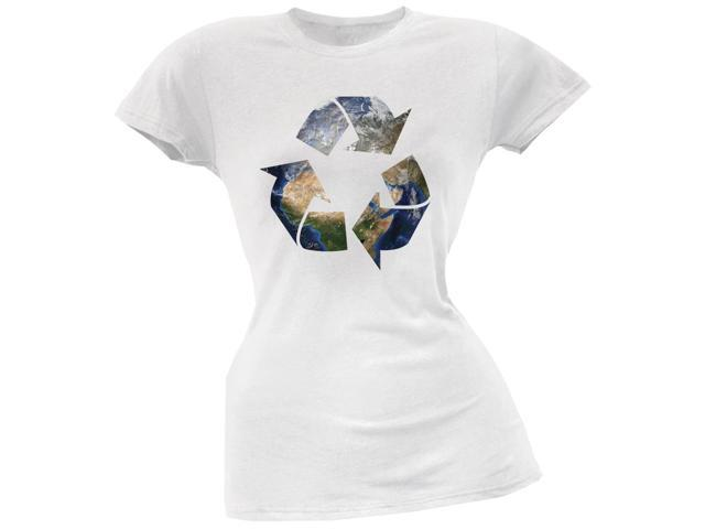 Earth Day - Recycle Earth White Juniors Soft T-Shirt