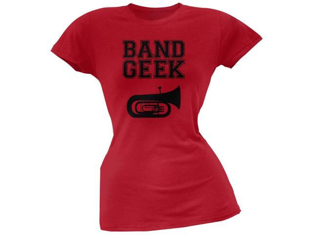 Band Geek Tuba Red Soft Juniors T-Shirt