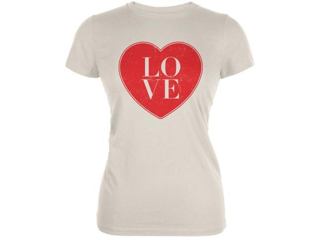 Love Heart Cream Juniors Soft T-Shirt
