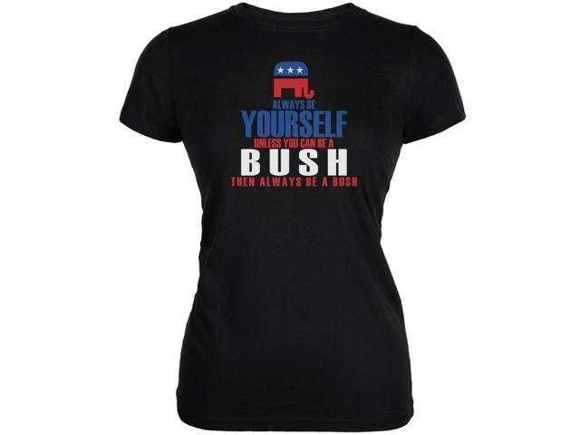 Election 2016 Be Yourself Jeb Bush Black Juniors Soft T-Shirt