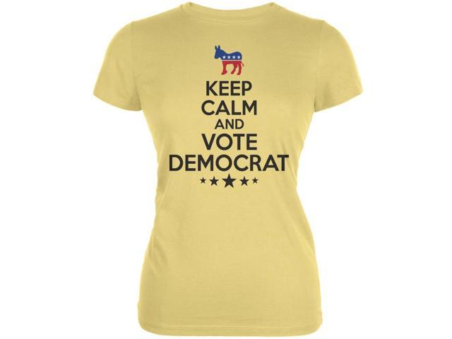 Election Keep Calm Vote Democrat Yellow Juniors Soft T-Shirt