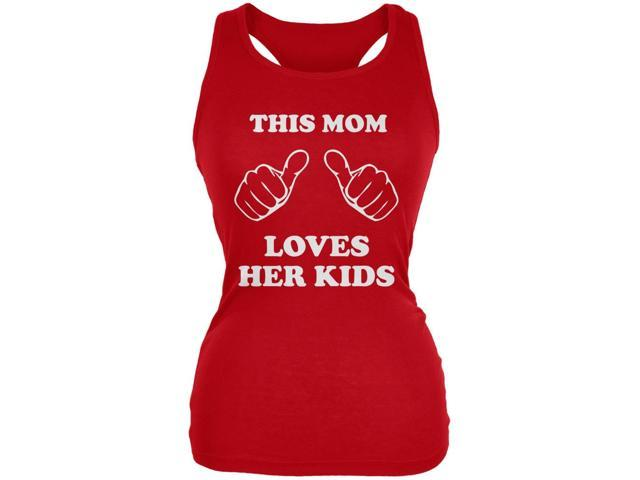 Mother's Day - This Mom Loves Her Kids Red Juniors Soft Tank Top